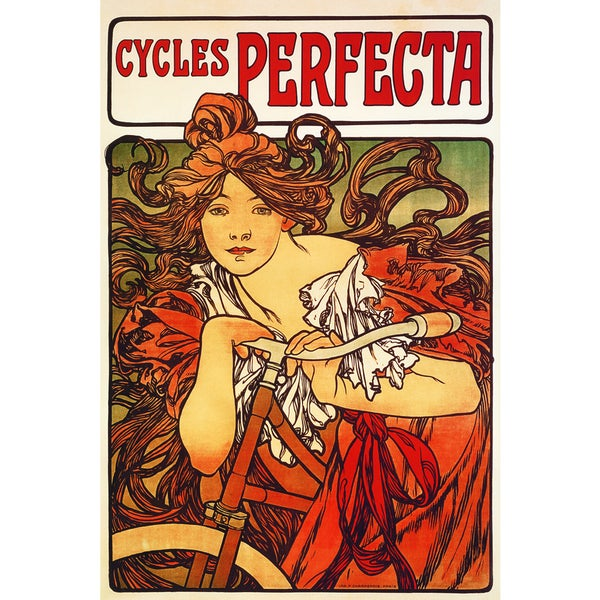 Alphonse Mucha 'Cycles Perfecta' Framed Canvas Wall Art