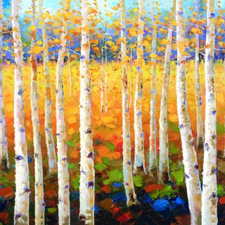 Robert Jeon 'Birch Forest' Framed Canvas Wall Art