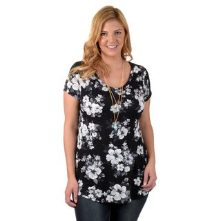 Timeless Comfort by Journee Women's Plus Floral Print Tunic Top