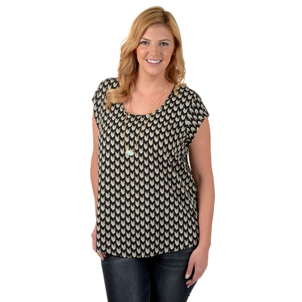 Timeless Comfort by Journee Women's Plus Printed Short-sleeve Blouse
