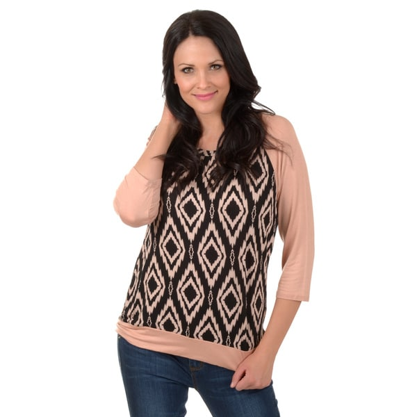 Timeless Comfort by Journee Women's Print Raglan Sleeve Top