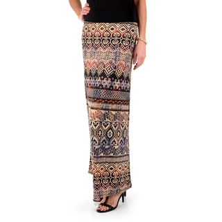 Timeless Comfort by Journee Women's Fold-over Print Maxi Skirt
