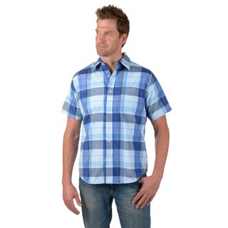 Boston Traveler Men's Short-sleeve Plaid Button-up Shirt