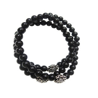 Black Onyx Triple Strand Wrap Stretch Bracelet