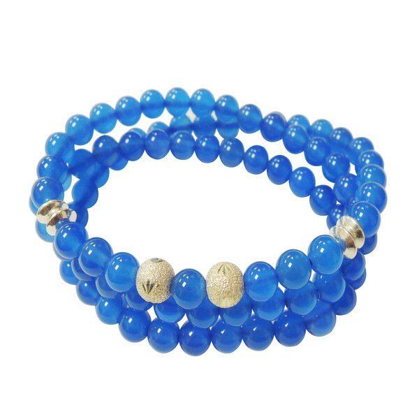 Blue Agate Triple Strand Wrap Stretch Bracelet