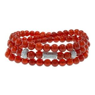 Red Bead Triple Strand Wrap Stretch Bracelet