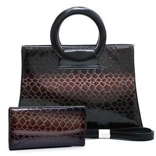 Dasein Patent Leatherette Snakeskin Shoulder Bag/Wallet Set