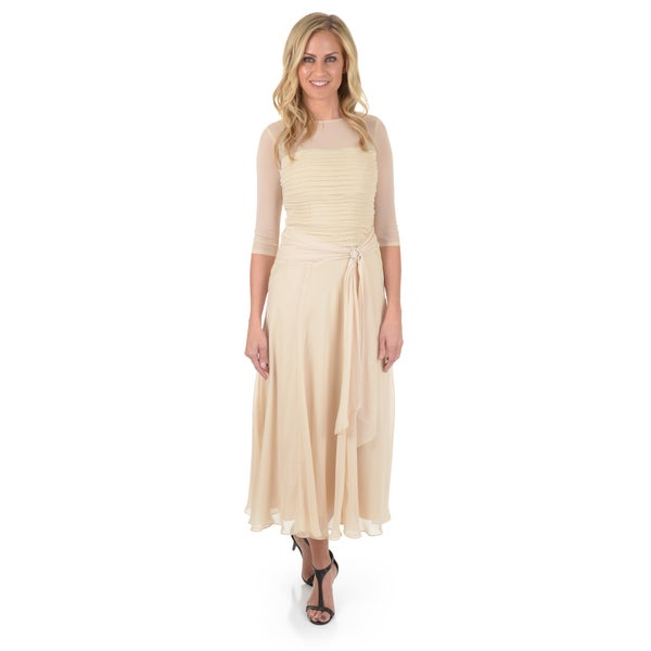 Sangria Women's Pleated Chiffon Dress
