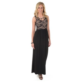 Timeless Comfort by Journee Women's Two-way Sleeveless Lace Maxi Dress