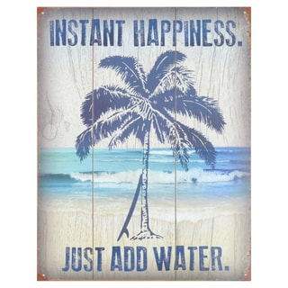 Vintage Metal Art 'Instant Happiness' Decorative Tin Sign
