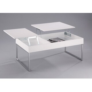 Celinda Coffee Table with Flip Top Storage Space - White