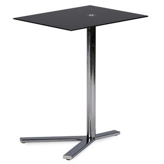 Baxton Studio Avolia Snack Table with Black Tempered Glass