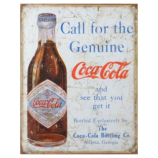 Vintage Metal Art 'Coke Call For the Genuine' Decorative Tin Sign