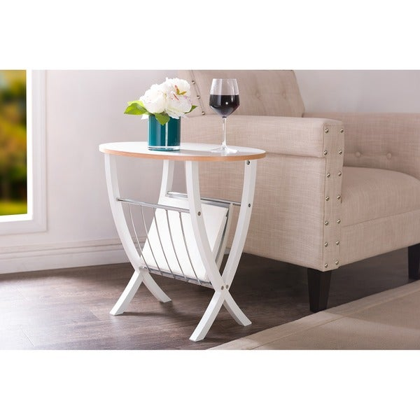 Baxton Studio Portici White Side Table with Wire Magazine Holder 15429075