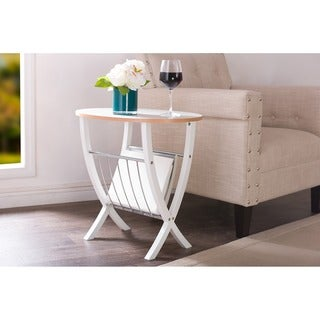 Baxton Studio Portici White Side Table with Wire Magazine Holder