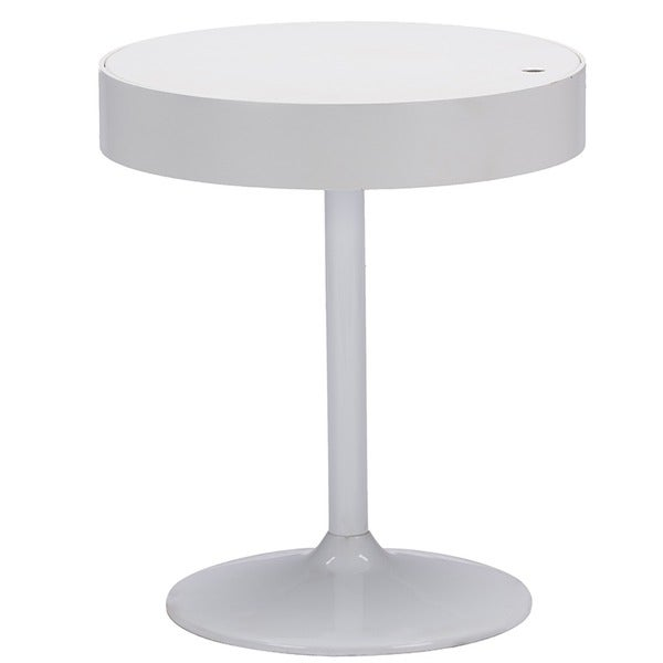 Mindy Wood Round Side Table With Storage - White