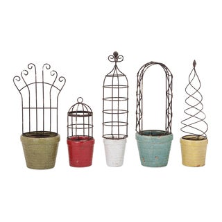 Covington Planters With Iron Trellis (Set of 5)