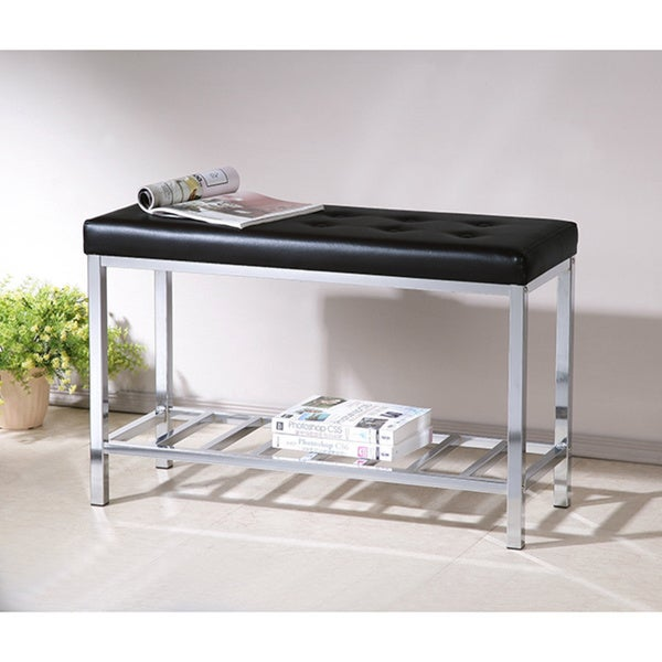 Black Tufted Bonded Leather Chrome Shoe Storage Bench