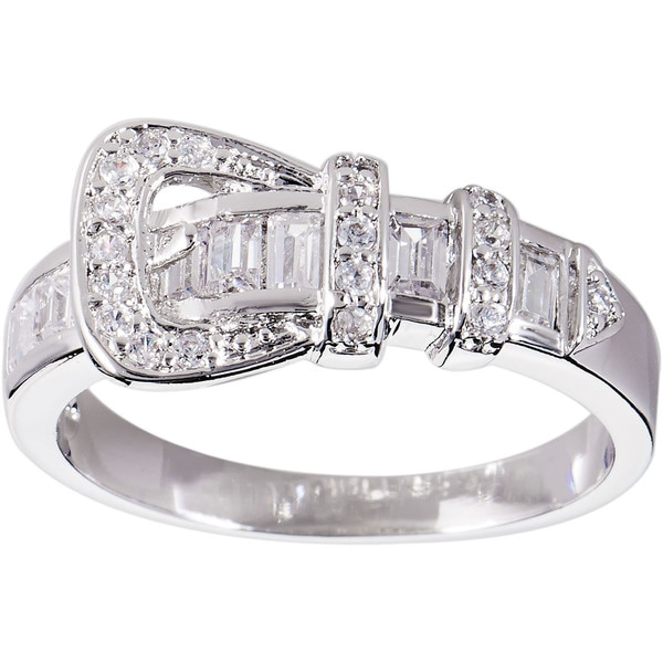 Simon Frank Silvertone CZ Buckle Ring