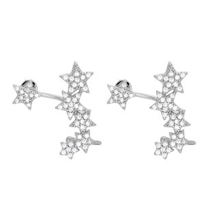 Sterling Essentials Rhodium Plated Silver Stars Ear Cuff CZ Earrings