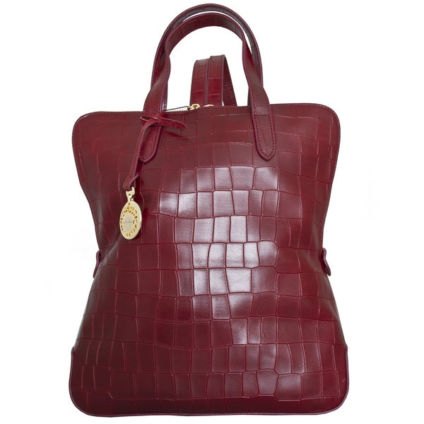 Leatherbay Rosolini Burgundy Italian Croc Print Fashion Leather Backpack
