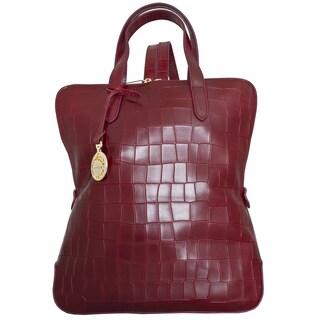 Leatherbay Rosolini Burgundy Italian Croc Print Fashion Leather Backpack
