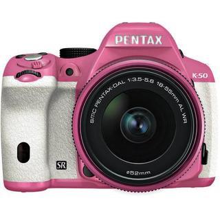 Pentax K-50 16MP DSLR Camera w/ 18-55mm f/3.5-5.6 WR Lens (Pink/White)