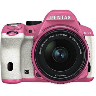 Pentax K-50 16MP DSLR Camera w/ 18-55mm f/3.5-5.6 WR Lens (Pink/White)