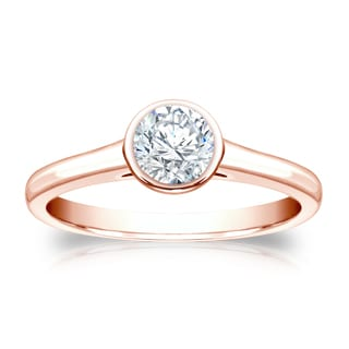 Auriya 14k Gold 1/2ct TDW Round Bezel Solitaire Ring ( H-I, SI1-SI2)