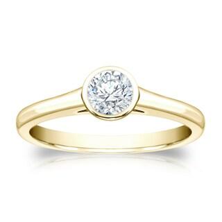 Auriya 18k Gold 1/3ct TDW Round cut Diamond Bezel Solitaire (H-I, SI1-SI2)