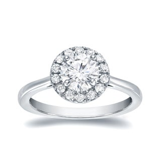 Auriya 14k White Gold 1ct TDW Round Diamond Halo Engagement Ring (H-I, SI1-SI2)