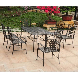 International Caravan Mandalay Iron Rectangular Dining Set (Set of 7)