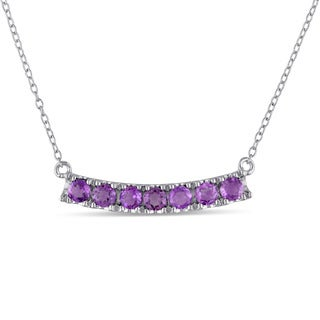 Miadora Sterling Silver Amethyst Bar Necklace