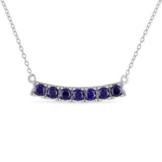 Miadora Sterling Silver Created Blue Sapphire Bar Necklace