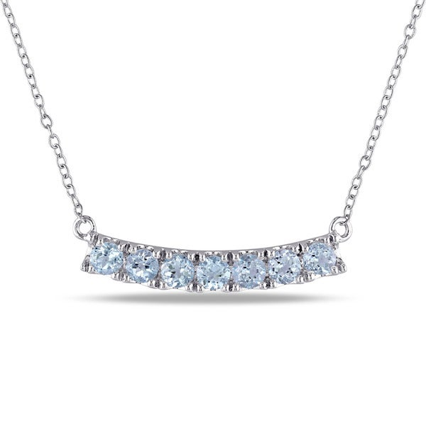 Miadora Sterling Silver Blue Topaz Bar Necklace