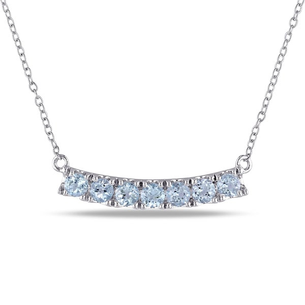 Miadora Sterling Silver Blue Topaz Bar Necklace