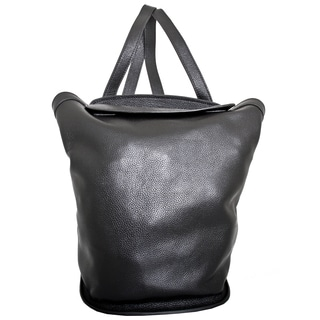 Leatherbay Roma Small Black Leather Fashion Backpack