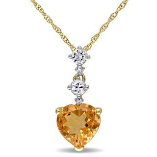 Miadora 10k Yellow Gold Created White Sapphire, Citrine and Diamond Accent Heart Necklace