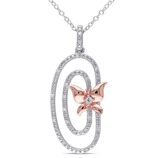 Miadora Two-tone Sterling Silver White Topaz and 1/10ct TDW Diamond Butterfly Circle Necklace (G-H, I2-I3)
