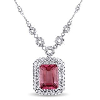 Miadora 14k White Gold Pink Tourmaline and 2 1/10ct TDW Diamond Necklace (G-H, SI1-SI2)