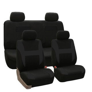 FH Group Black Pique Fabric Auto Seat Covers