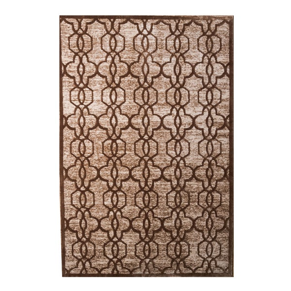 Oh! Home Platinum Collection Iron Gate Beige/Cream Quatrefoil Modified Polyester Area Rug (2' x 3') ( Overstock Exclusive)