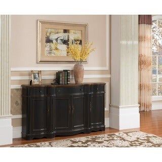 Treasure Trove Accents LevyTexture Black and Brown Three Drawer Four Door Credenza