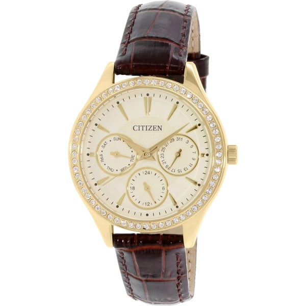 Citizen Women's ED8162-03P Brown Leather Quartz Watch
