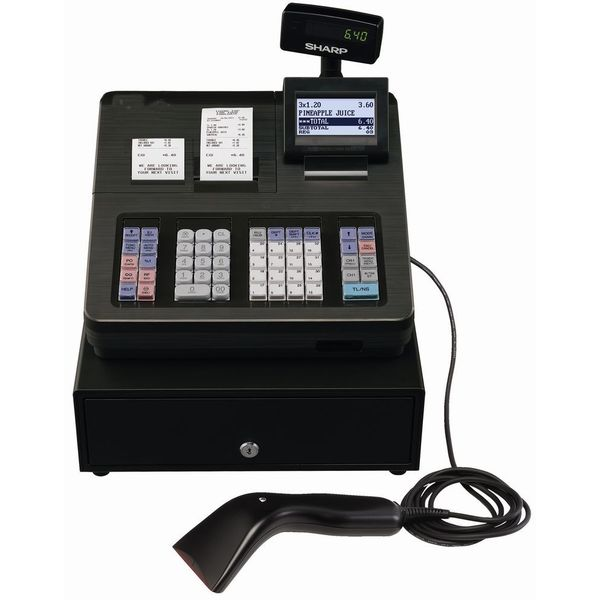 SHARP XE-A507 Cash Register,7000 LookUps, 99 Dept - 40 Clerk with Hand Scanner