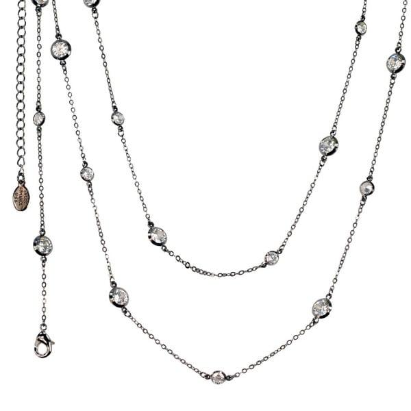 Sweet Romance Pewter 'Just Like Diamonds' Large Stone Layering Necklace
