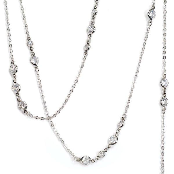 Sweet Romance Pewter 'Just Like Diamonds' Layering Necklace
