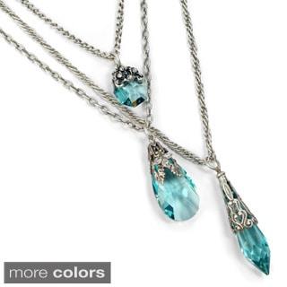 Sweet Romance 3 Strand Swarovski Crystal Prism Chain Necklace