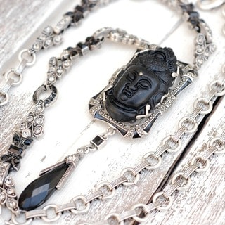 Sweet Romance Art Deco Carved Buddha Silver Marcasite Necklace