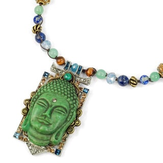 Sweet Romance Pewter Tranquility Vintage Glass Buddha Necklace